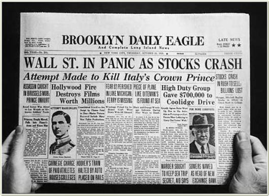 """Leading newspapers were claiming """"Wall St. In Panic as Stocks Crash ..."""